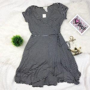 Poetry V Neck Sheath Black/White Stripe Dress NWT